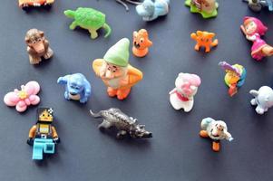 Kiev, Ukraine, 2020 - Various little kids toys lined up for Halloween photo