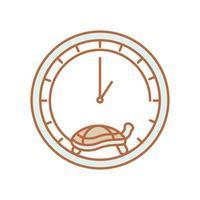 slow turtle in clock vector