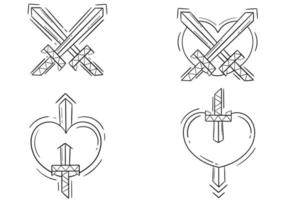 collection of heart and sword outline illustrations vector