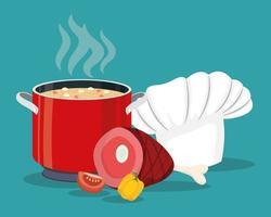 cocinar ingredientes y olla vector
