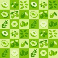 Green Olive abstract seamless geometric vector pattern for packaging design