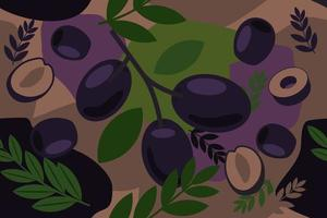 Black Olive seamless elements abstract pattern vector design background