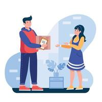 The delivery courier brought the parcel to the girl. vector