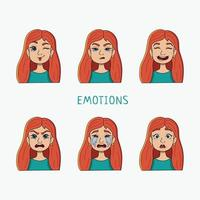A set of girls with different emotions. vector