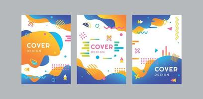 A set of bright Memphis-style covers. Vector illustration.