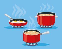 tres ollas cocinando vector