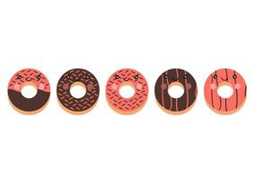 a collection of donuts with various flavors and bright colors, sweet chocolate and strawberry flavors with cute and adorable face vector