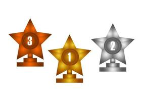 illustration of gold, silver and bronze star trophy with color gradation vector