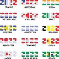 Essential colors on national flags for the new year 2022 vector