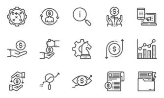 Business Economic Line Icons Vector Illustration, Strategy, Marketing, Growth