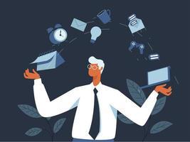 Multi Tasking worker illustration concept vector