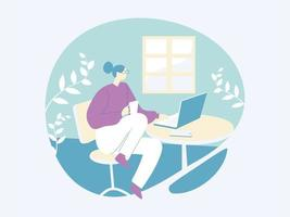 Girl chatting with laptop illustration concept vector