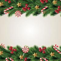 Christmas Composition. Holiday Wishes on Red Background with Fir Branches. For Greeting Card, Poster and Banner. vector