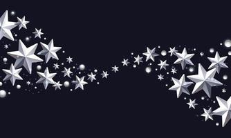 Christmas Background with Border made of Cutout Foil Stars and Snowflakes Christmas Greeting card. vector