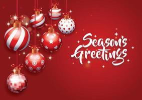 Seasons greetings Realistic different Christmas ball ornaments on red background vector