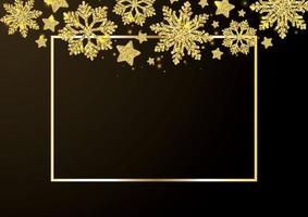 Gold snowflakes falling on Black background. Golden snowflakes border with different ornaments. Luxury Christmas garland. Winter ornament for packaging, cards, invitations. Vector illustration.