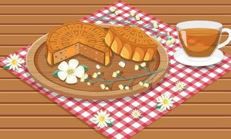 Salted egg yolk mooncake with teacup set on wooden table vector