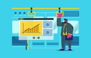 Businessman Back to Work Ride a Train vector