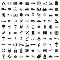100 Travel Icons set, simple style vector