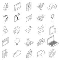 Office equipment icons set, isometric 3d style vector
