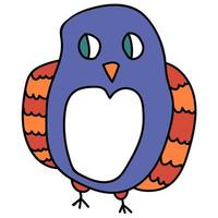 Cartoon doodle linear owl isolated on white background. Bird. vector