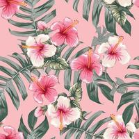 Seamless floral pattern pink Hibiscus flowers on isolated dark pink pastel background.Vector illustration watercolor hand drawning.For fabric print design texture vector