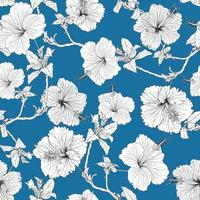 Seamless pattern tropical summer with Black-white Hibiscus flowers on isolated blue background.Vector illustration hand drawing line art. vector