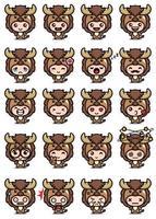 vector design of cute buffalo mascot set