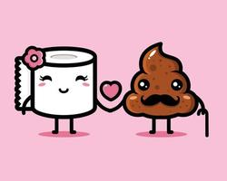 poo and cute tissue fall in love with each other vector