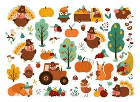 Vector Thanksgiving elements set. Autumn icons collection with funny turkey, animals, harvest, cornucopia, pumpkins, trees. Fall holiday pack with car, tractor, fruit, vegetables