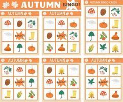 Vector Autumn bingo cards set. Fun family lotto board game with cute pumpkin, mushroom, umbrella for kids. Fall seasonal lottery activity. Simple educational printable worksheet.