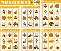 Vector Thanksgiving bingo cards set. Fun family lotto board game with cute turkey, pumpkin, pilgrim for kids. Autumn Fall holiday lottery activity. Simple educational printable worksheet.