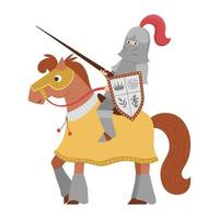 Fairy tale knight on a horse. Fantasy armored warrior isolated on white background. Fairytale soldier in helmet with sword, shield, chain mail. Cartoon icon with medieval character and weapon. vector