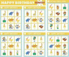 Vector Happy Birthday bingo cards set. Fun family lotto board game with cute animals, balloons, cakes for kids. Holiday party lottery activity. Simple educational printable worksheet.