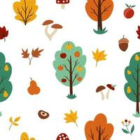 Vector autumn forest or garden seamless pattern with fruit trees, plants, shrubs, bushes, mushrooms. Fall apple and pear garden repeat background. Natural greenery digital paper