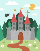 Vector fairytale landscape with castle on a hill. Fairy tale background. Magic kingdom picture. Scenery with medieval palace, towers, flags, trees, flying dragon. Fairy tale king house illustration