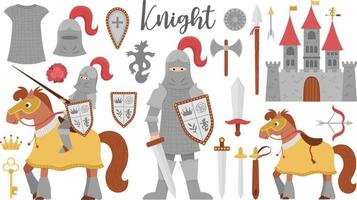 Fairy tale knight armor collection. Big vector set of fantasy armored warrior and castle. Fairytale soldier pack with sword, shield, horse, crown, chain mail. Cartoon icons with medieval weapon.