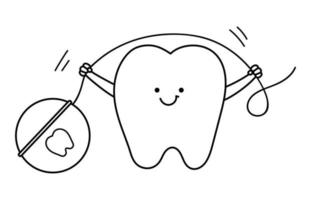 black and white kawaii tooth holding floss. Vector teeth line icon. Funny dental care picture for kids. Dentist baby clinic clipart or coloring page with mouth hygiene concept