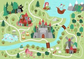 Fairytale kingdom map. Medieval village background. Vector fairy tale castle infographic elements with sea, mountains, forest, ship. Fantasy town plan with unicorn, witch, mermaid, dragon, frog prince