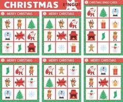 Vector Christmas bingo cards set. Fun family lotto board game with cute Santa Claus, Christmas tree, snowman for kids. Holiday winter party lottery activity. Simple educational printable worksheet