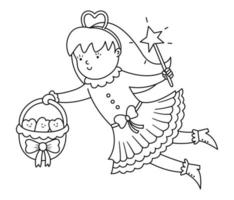 Black and white flying tooth fairy vector icon. Kawaii outline fantasy princess with basket full of smiling teeth. Funny line dental care picture for kids or coloring page. Dentist baby clinic clipart