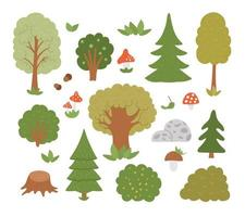 Vector set of forest trees, plants, shrubs, bushes, mushrooms isolated on white background. Flat autumn woodland illustration. Natural greenery icons collection