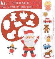 vector de Navidad cortar y pegar la actividad. juego de manualidades educativo de invierno con lindo santa claus, camachuelo y juguetes. actividad divertida para niños. que en santa saco