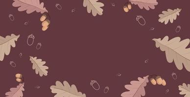 Abstract autumn web background template with many different leaves - Vector