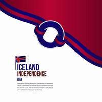 Iceland Independence Day Celebration Vector Template Design Illustration