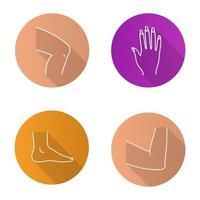 Conjunto de iconos de larga sombra lineal plana de partes del cuerpo. rodilla, mano, pie, articulación del codo. ilustración de contorno vectorial vector