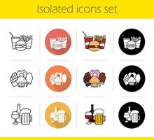 Food categories icons set. Flat design, linear, black and color styles. Fastfood, sweets, alcohol drinks. Isolated vector illustrations