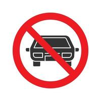 Forbidden sign with car glyph icon. No parking prohibition. Stop silhouette symbol. Negative space. Vector isolated illustration