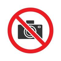 Forbidden sign with camera glyph icon. Stop silhouette symbol. Photographing prohibition. Negative space. Vector isolated illustration