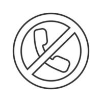 Forbidden sign with handset linear icon. Thin line illustration. Phone calling prohibition. Stop contour symbol. Vector isolated outline drawing